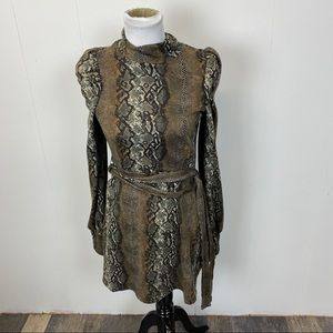 Leith Snake Skin Print Long Sleeved Mini Dress
